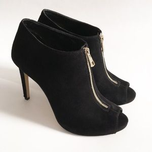 Ann Taylor Open Toe Suede Booties Size 6.5